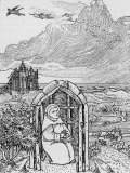 Saint Cuthbert in His Hermit Cell on Farne Island, Giclee Print