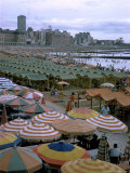 Sea of Umbrellas and Canvas Nearly Covers Mar Del Plata Beach Photographic Print by Leonard Mccombe