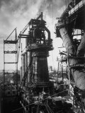 Under Construction Blast Furnace at Magnitogorsk Metallurgical Industrial Complex Photographic Print by Margaret Bourke-White