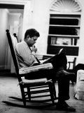 President John F. Kennedy Sitting Alone, Thoughtfully, in His Rocking Chair in the Oval Office Photographic Print by Paul Schutzer