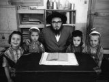 Rabbi Posing with His Young Students Who Are Learning to Read Hebrew at This Orthodox School Premium Photographic Print by Paul Schutzer