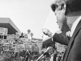 Robert F. Kennedy Giving a Campaign Speech Premium Photographic Print by Bill Eppridge