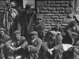 Rhondda Valley Miners Waiting For Their Bus Premium Photographic Print by William Vandivert