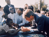 Robert F. Kennedy Meeting with Some African American Kids During Political Campaign Premium Photographic Print by Bill Eppridge