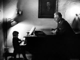 Piano Teacher Giving Lesson to Young Student in a Carnegie Hall Studio Premium Photographic Print by Alfred Eisenstaedt