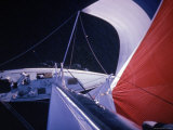 Red Topped Spinnaker Bellying Out from Nefertiti's Towering Mast During America's Cup Trials Premium Photographic Print by George Silk