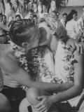 Sailor Kissing Girl During Luau For Navy Personnel on Leave Photographic Print by Eliot Elisofon