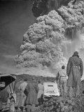 Servicemen Viewing Eruption of Volcano Mount Vesuvius Premium Photographic Print by George Rodger
