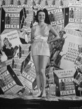 Stamp Girl Jane Richards Heckaman, Modeling an Outfit Made of Defense Bond Stamps Premium Photographic Print by William C. Shrout
