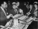 People Buying Newspapers Headlining the June 6, 1944 D-Day Invasion of Nazi Occupied Europe Photographic Print by Gordon Coster