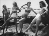 Models Wearing &quot;California&quot; Bathing Suits, with No Shoulder Straps and Minimum Diaper Style Pants Photographic Print by Walter Sanders