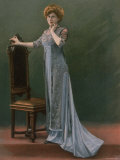 Woman Modeling a Pale Blue Afternoon Dress Embroidered with Beads and Designed by Paquin Premium Photographic Print by  Felix