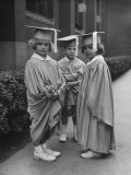 Three Kindergarteners Graduating Today Premium Photographic Print by Nina Leen