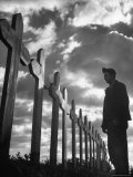 Man Visiting Unnamed Graves of Us Airmen Premium Photographic Print by George Rodger