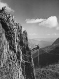 Soldier Repelling Down Steep Rock Face Premium Photographic Print by J. R. Eyerman