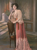 Model Wearing Red Robe D&#39;Interieur, or House Dress with Cream Lace Top Designed by Drecoll Premium Photographic Print by Felix 