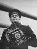 Navy Soldier Holding Camera Premium Photographic Print by George Strock