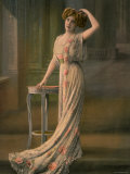 Woman Modeling Pale Green Robe du Soir with Pink Rose Appliques, Designed by Doeuillet Premium Photographic Print by Felix 