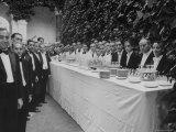 Waiters and Bartenders Waiting to Serve at the Alba Wedding Premium Photographic Print by Frank Scherschel