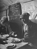 Two Men Eating American Food at a Liverpool Communal Feeding Centre Photographic Print by Hans Wild