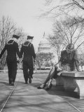 Sailors Eyeing Girls Legs, Capitol Building in Background Premium Photographic Print by Francis Miller