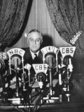 "President Franklin D. Roosevelt Making a ""Fireside Chat"" Speech on Radio During WWII Premium Photographic Print by Thomas D. Mcavoy"
