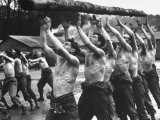 Rangers Doing Calisthenics Exercises Premium Photographic Print by George Rodger
