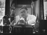 Mayor Fiorello LaGuardia Speaking on the Radio Premium Photographic Print by William C. Shrout