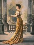 Woman Modeling Embroidered Rust Colored, Lace Trimmed Chiffon Ball Gown Designed by Doeuillet Premium Photographic Print by  Felix