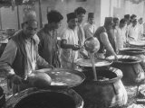 Men Preparing Food For 20,000 People During Aga Khan Diamond Jubilee Premium Photographic Print by George Rodger