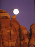 Moon over Orange Striated Rock Structures in Canyonlands National Park, Utah Premium Photographic Print by John Loengard