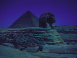 Sphinx and Great Pyramid at Giza, in Moonlight, Egypt Premium Photographic Print by James Burke