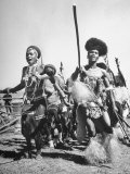 Zulu Natives Dancing in a Ceremony Premium Photographic Print by Hart Preston
