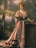 Mlle. Feylne Modeling a Pink Chiffon Robe de Diner with Brown Trim Designed by Drecoll Premium Photographic Print by  Reutlinger