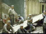 "Men from Demolition Crew on Their Break in Story ""The Wreckers"" Premium Photographic Print by Walker Evans"