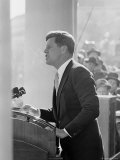 President John F. Kennedy Making Inaugural Address Photographic Print by Joe Scherschel