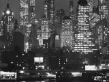 Night Panorama of New York City Buildings Premium Photographic Print by Andreas Feininger