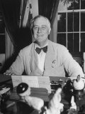 Portrait of President Franklin Roosevelt Alone, Smiling, at Desk in White House Premium Photographic Print by George Skadding