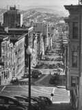 Picturesque View of Cable Car Coming Up the Hill in Light Auto Traffic Premium Photographic Print by Andreas Feininger