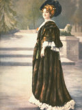 Mlle. Arlette Dorgere in Park Wearing Sable Cape and Elaborate Feather Hat Premium Photographic Print by  Felix