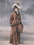 Woman Wearing Rust Velvet Afternoon Suit with Fur Trim and Muff Designed by Bernard Premium Photographic Print by  Felix