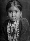 Portrait of Small Girl in Costume, Who is Native American Navajo Princess Photographic Print by E O Hoppe
