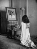 Yogi Sri Aurobindo's Photograph Being Worshipped by Woman in Sari Premium Photographic Print by Eliot Elisofon