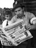 "Steelworker Andy Lopata and Son Reading ""Steel Labor"" Premium Photographic Print by Alfred Eisenstaedt"