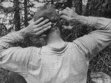 Uranium Prospector Bert Lien Cutting His Own Hair Premium Photographic Print by Francis Miller