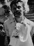 Pie Eating Contest During Church Social Premium Photographic Print by Al Fenn