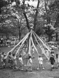 School Children Playing Around the May Pole Premium Photographic Print by Martha Holmes