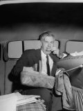 Progressive Party Candidate Henry A. Wallace Eating His Lunch in the Car Premium Photographic Print by Francis Miller