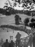Spectators Watching as Men Compete in the Golf Tournament, Riviera Country Club Photographic Print by John Florea