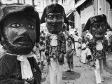 Masked Parade Participants During the Fiesta de San Ferman Premium Photographic Print by Tony Linck